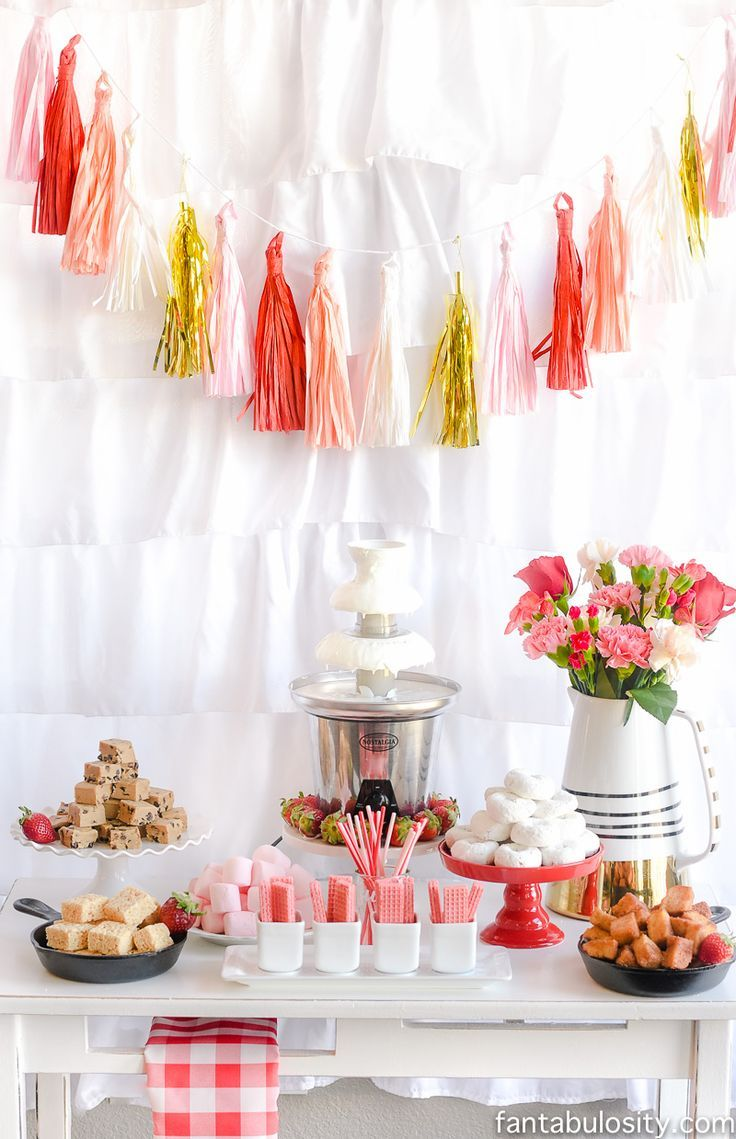 Chocolate Fountain Bar Ideas A Modern Rustic Pink Party Display