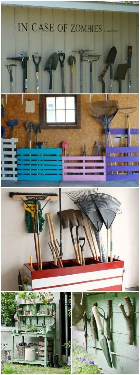 11 Garden Tool Racks You Can Easily Make via @1001Gardens www.1001gardens.org                                                                                                                                                                                 More