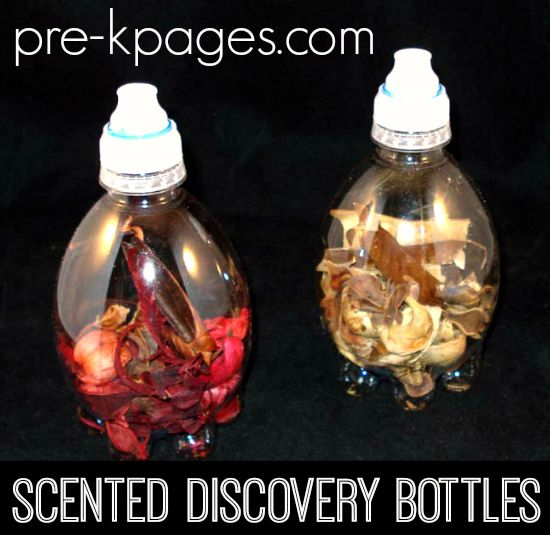 Scented Science Discovery Bottles Scented Discovery Bottle Supplies      Aqua Pod water bottles     Sports caps/lids from other bottles     Variety of different potpourri     Hot glue gun