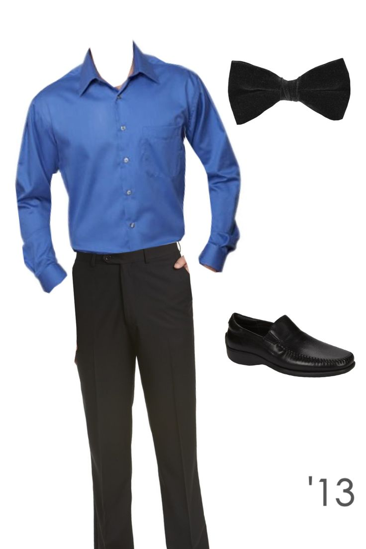 Men 39 s formal black dress pants shoes bow tie and blue Black shirt blue jeans