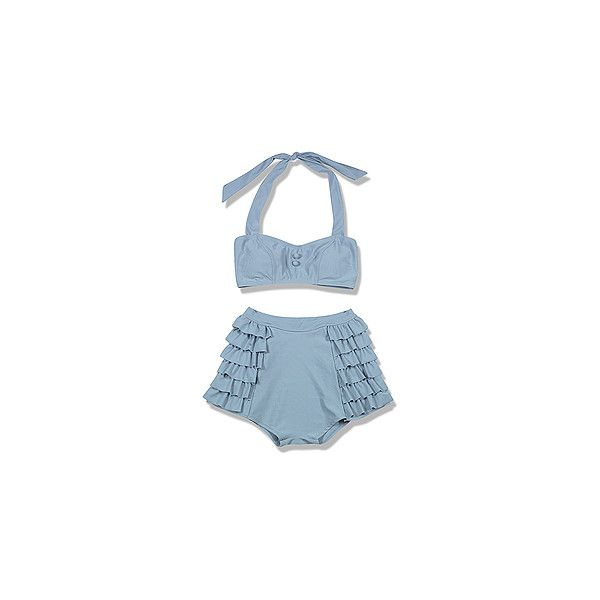 Hayden-Harnett LEDA Ruffle Bottom Bikini Top, Mineral Blue and other apparel, accessories and trends. Browse and shop related looks.