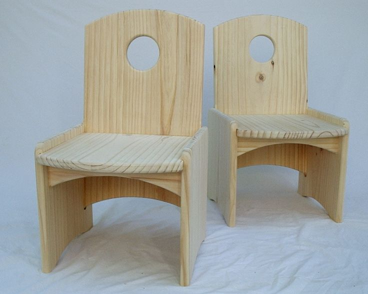 Kids solid timber chair, made from wide pine boards. Assembled by rebates and the curved end cuts matched between parts so reducing waste. Pretty sturdy little chairs in the end.