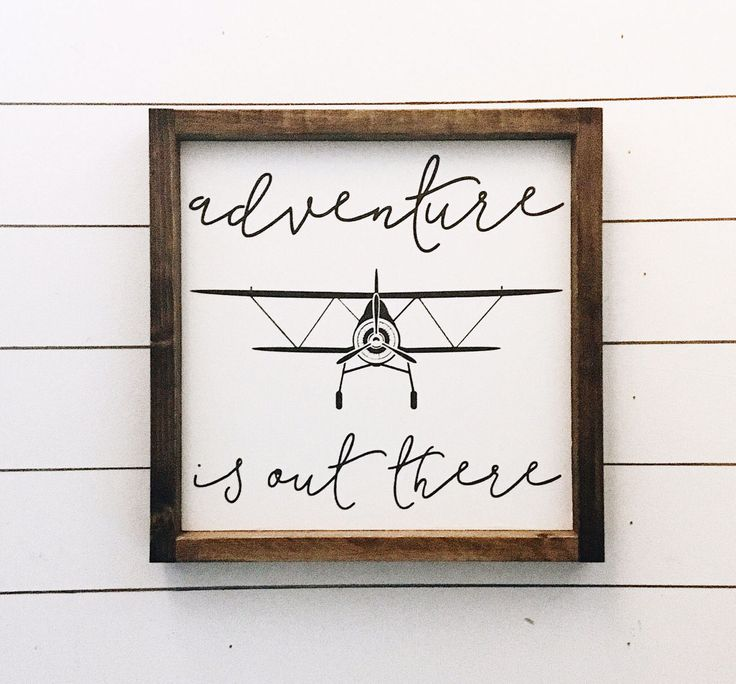 Ready to ship * Adventure is out there / Aviation Sign / Vintage Airplane Decor /  Aviation Decor / Wood Sign -approx 12.5 x 12.5 inches by JamesandAlice on Etsy https://www.etsy.com/listing/506926594/ready-to-ship-adventure-is-out-there