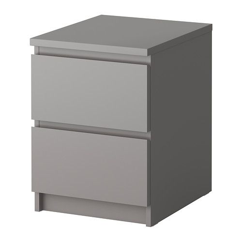 MALM Chest with 2 drawers IKEA Can also be used as a nightstand. Smooth running drawers with pull-out stop.
