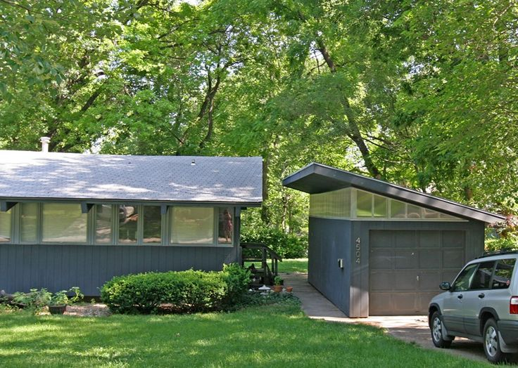 Mid century modern garages garage days pinterest for Detached garage with carport