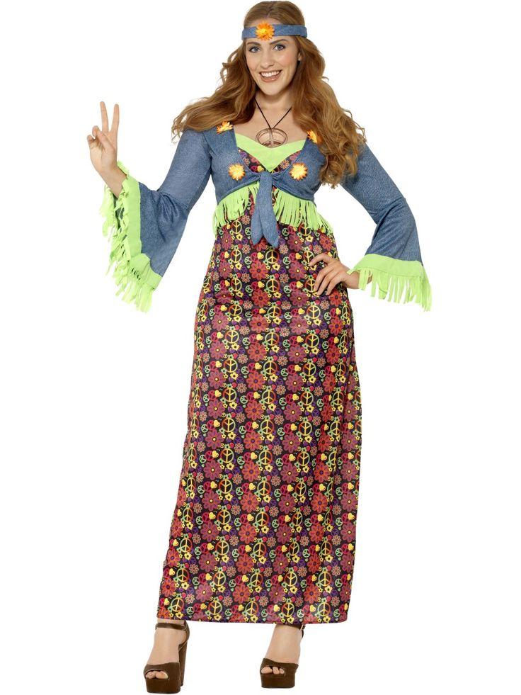 Hippi-Lady. Kukat ja rauhanmerkit kuvittavat mekon kangasta ja päänauha viimeistelee tyylin.