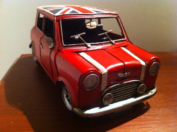 Mini Cooper Car - Red Tin Metal Toy Automobile with the Union Jack Flag on the…