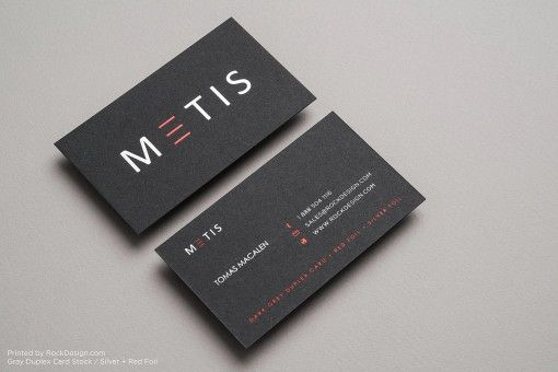 Dark gray dual colour foil stamp minimalist classic business card design - Metis