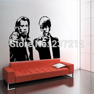 Free Shipping Banksy Pulp Fiction Wall Sticker Living Room Home Decor Bedroom Decoration Modern Decal