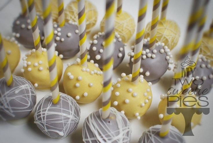 yellow and gray cake pops | visit mytwosweetiepies com