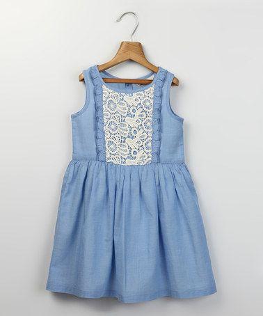 Look at this #zulilyfind! Light Blue & White Ruffle Chambray Dress - Girls by Beebay #zulilyfinds