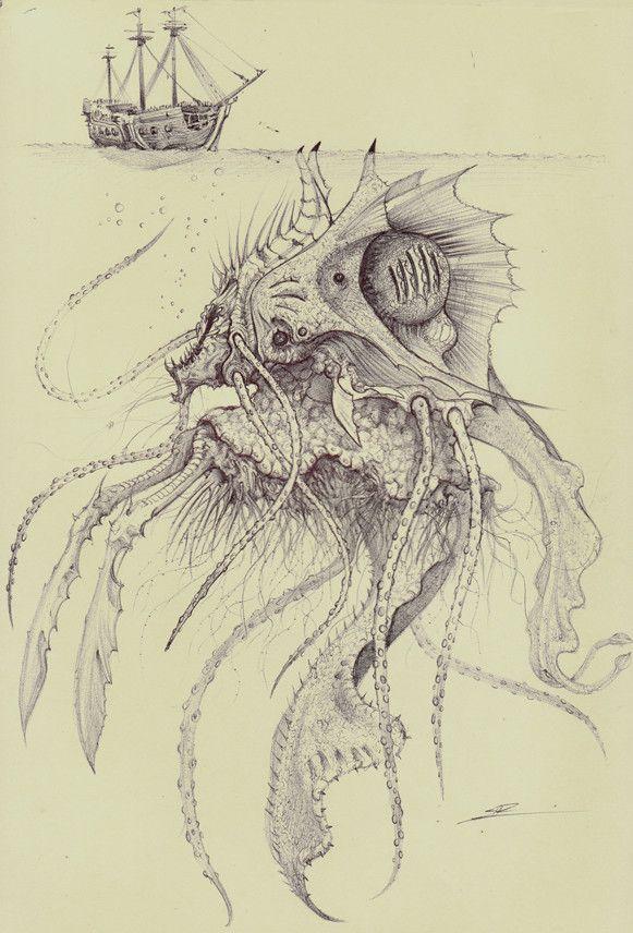 морские чудовища картинки карандашом исполнении опытных