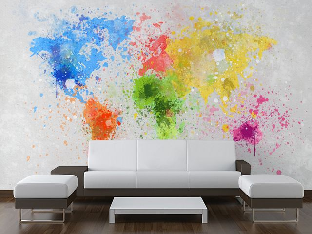 Stunning World Map Painting Wall Mural From Wallsauce. This High Quality  World Map Painting Wallpaper Is Custom Made To Your Dimensions. Easy To  Order And ...
