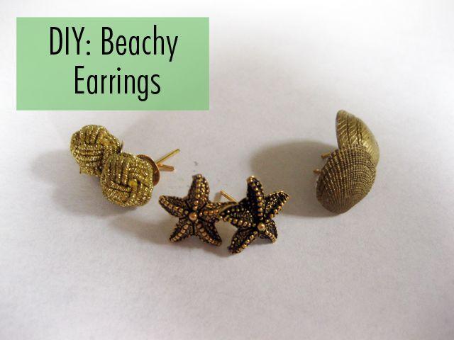 DIY: Nautical Earrings | The Average Girl's GuideSummer Earrings, Diy Summer, Diy Tutorial, Diy Jewellery, Beachy Earrings, Studs Earrings, Nautical Earrings, Average Girls, Diy Earrings