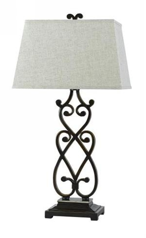 WROUGHT IRON SCROLL TABLE LAMP