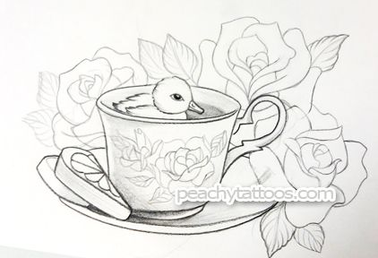 Google Image Result for http://peachytattoos.com/storage/duck-tea-cup-peachy-tattoo.jpg%3F__SQUARESPACE_CACHEVERSION%3D1317944497665    I would never get this but it's cute.