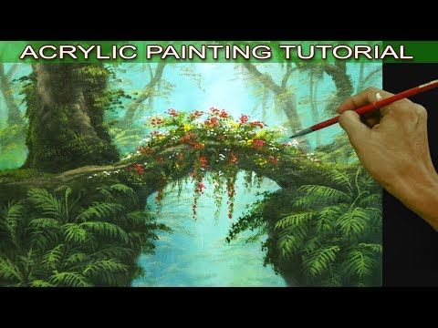 Acrylic Landscape Painting Tutorial Tropical Misty Forest with Hanging Plants, F…