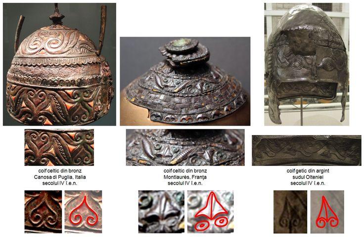 """Coiful celtic descoperit la  Montlaurès, Franţa, datat în secolul IV î.e.n., prezintă Pomul Vieţii realizat sub forma frunzei de viţă de vie - """"Planta Vieţii"""", similar civilizaţiei getice - coiful din argint descoperit în sudul Olteniei şi datat tot în secolul IV î.e.n. Pomul Vieţii este realizat în mod similar pe coiful celtic descoperit la Canosa di Puglia, Provincia Barletta-Andria-Trani, Italia, datat în secolul IV î.e.n."""