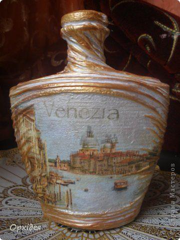Декор предметов Декупаж Декоративні бутилочки Бутылки стеклянные Салфетки фото 5