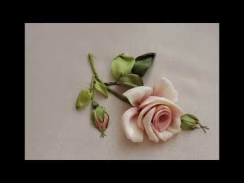 Как вышить бутонную розу за восемь стежков How to embroider a rose 如何绣玫瑰布敦 Бутонная роза лентами - YouTube