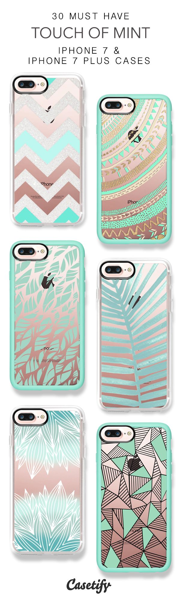 30 Must Have Touch Of Mint  Protective iPhone 7 Cases and iPhone 7 Plus Cases. More Pattern iPhone case here > https://www.casetify.com/collections/top_100_designs#/?vc=bpApRZc7BZ