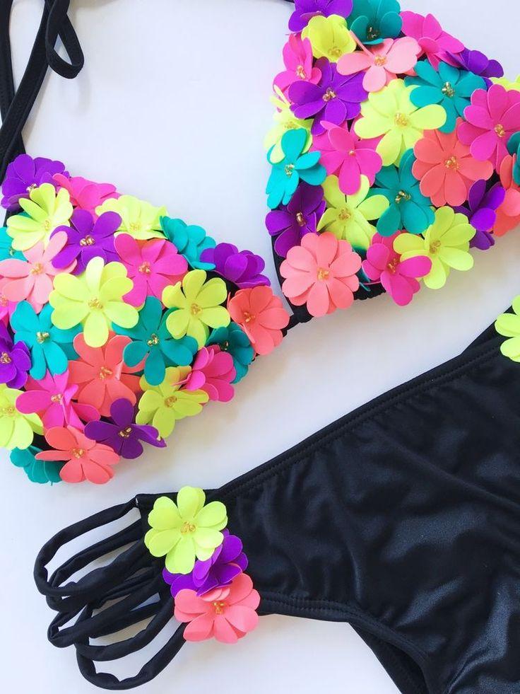 NEW Colombian Swimwear Bikini Set Size M Bathing Suit Embroidered #Handmade #Bikini