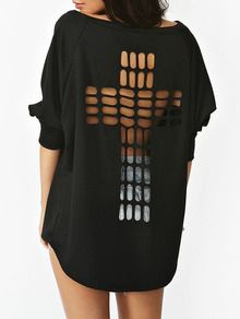 Sweat-shirt manche longue dos en filet ajouré -noir