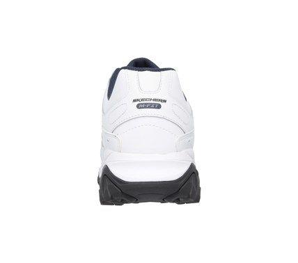 Skechers Men's After Burn Strike On Memory Foam X-Wide Sneakers (White/Navy Leather) - 15.0 4E