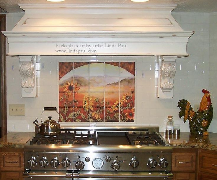 French Country Decorating with Tile | sunflower_tile_mural_french_Country_kitchen_back_splash_tile_installed ...