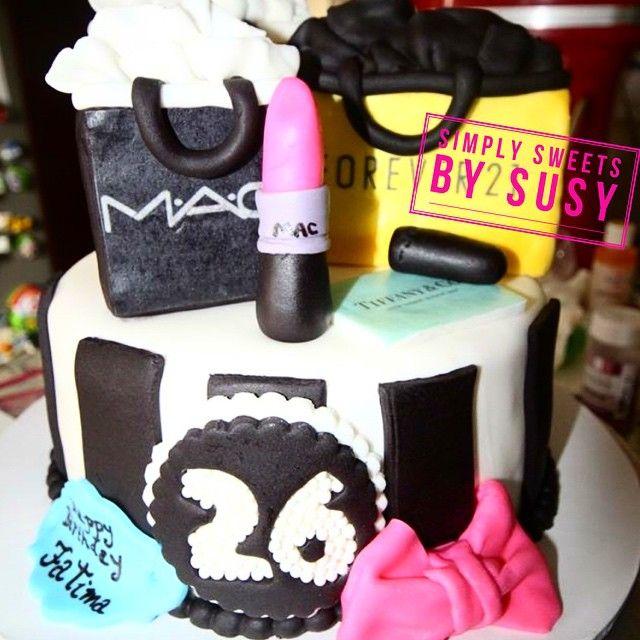 Perfect cake for the girly girl or trendsetter!  #shopoholic #mac #maccosmetics #forever21 #birthdaycake #customcake #trendsetter #simplysweets #torontocakes