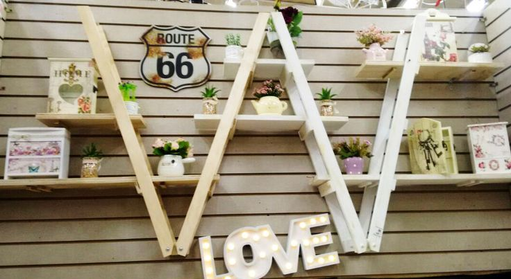 Deco madera, Love, letras escaleras, madera
