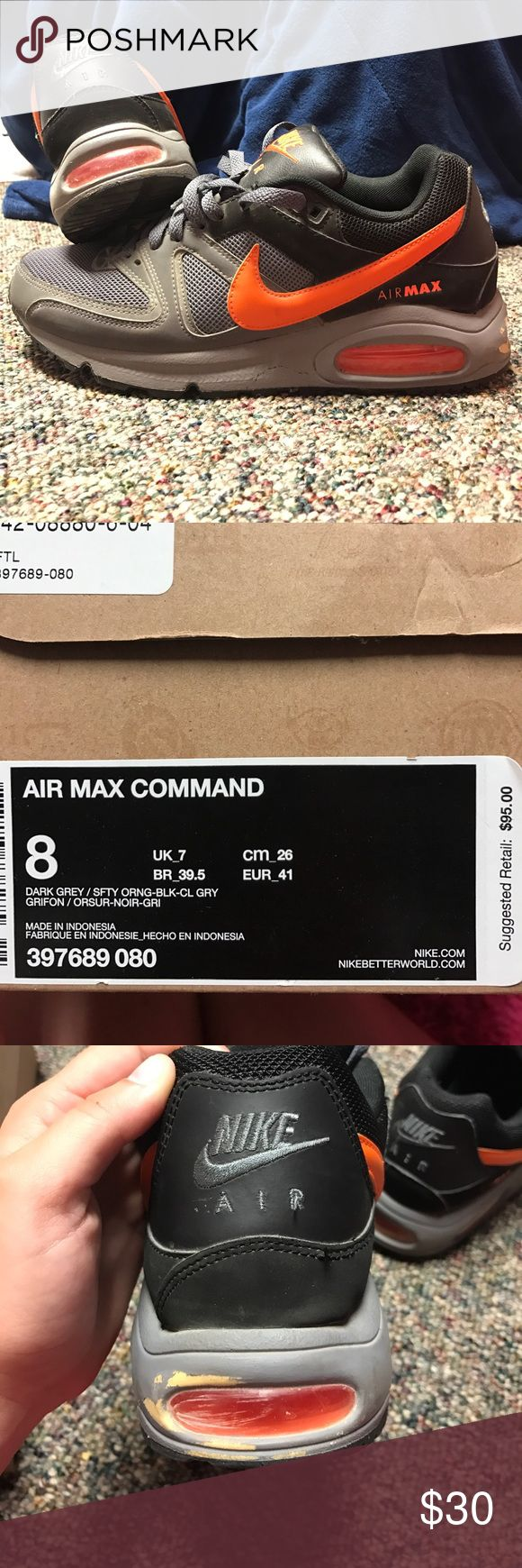 Nike Air Max Command Nike Air Max worn a couple times. Has a scuff on the back of the left shoe which is pictured and reflected in the price. Other than that they are in great condition and are great shoes. Nike Shoes Athletic Shoes