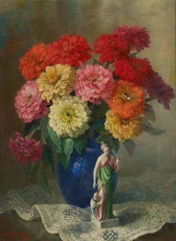 Vase fleuri à la figurine by Julien Stappers, oil on canvas