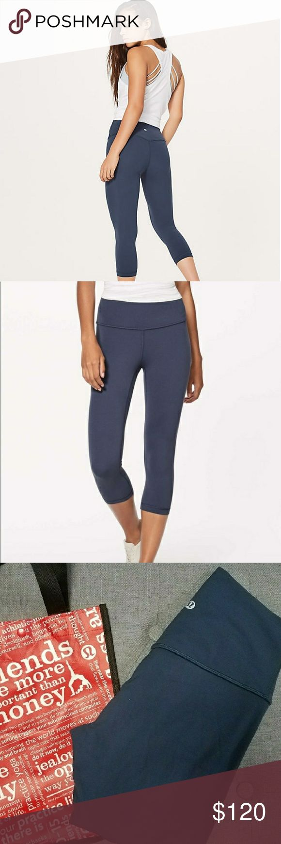 Lululemon Align Mach Blue Excellent condition - Size 4. 19' Crops .  Purchased in Orlando, Fl in November - Proof of receipt and tag as shown.  Open to trades for Lululemon leggings or Gymshark in excellent condition.  Feel free to make a reasonable offer! Please keep fees in mind 💓  I will not sell to users with no listings or reviews, sorry! lululemon athletica Pants Leggings