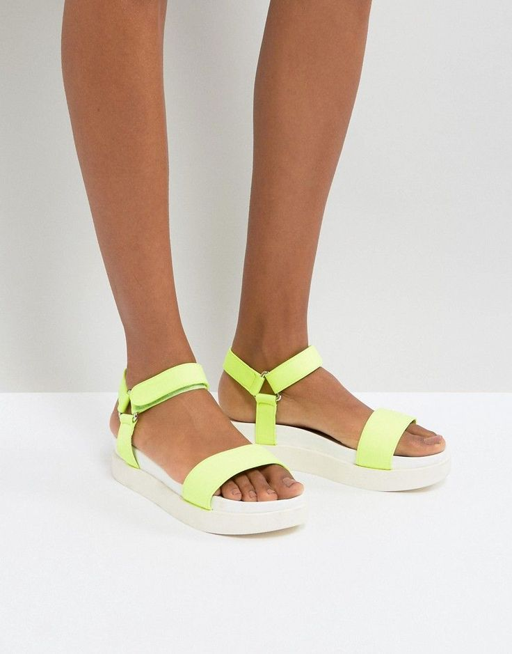 New Look Neon Sports Strap Flatform Sandals - Green