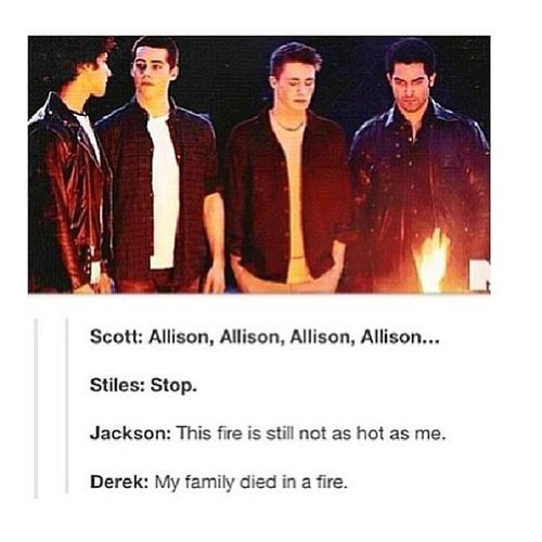 Teen Wolf this is so sad for Derek :( but this is so funny omg lol
