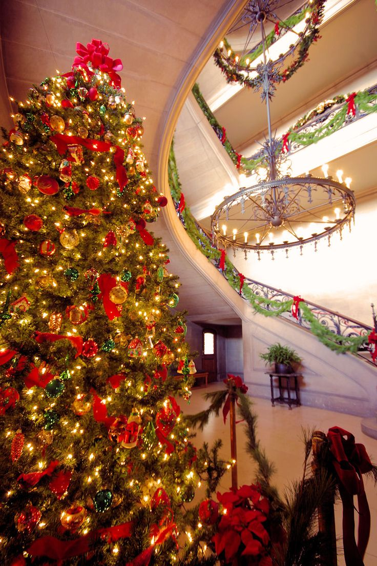 The Grand Staircase In Biltmore House During The Holidays