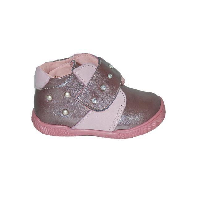 #first #steps Μποτάκι Μούγερ από δέρμα-λουστρίνι, old pink με τρουκ, με ανατομικό πέλμα και αυτοκόλλητο κούμπωμα. www.mouyer.gr/paidika-papoutsia/botakia/mouger-3-botaki-dermatino-loustrini-old-pink_53603/