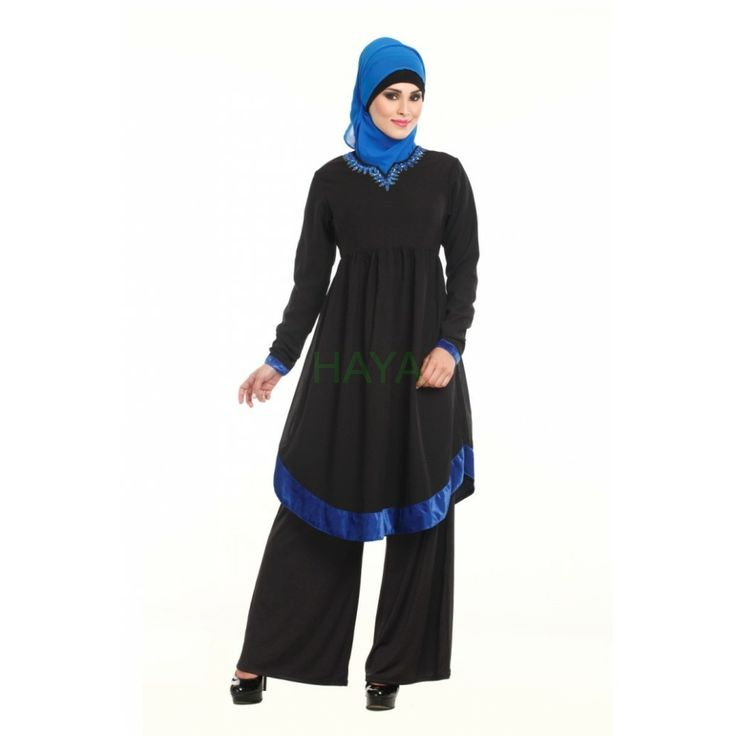 This black georgette tunic has stone work hand embroidered neckline, and contrasting velvet royal trims on its sleeves and bottom. Shop for $35.00 @ http://www.hayaislamicclothing.com/Women/Tunic-Kurties-Tops/tunics-245-lt