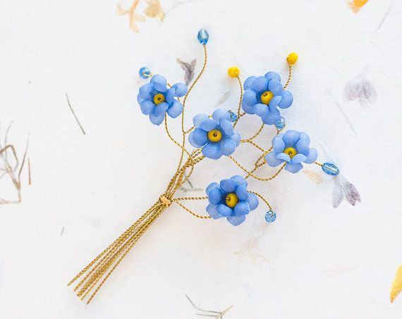 Gold floral boutonniere Original blue boutineer Yellow by ArsiArt