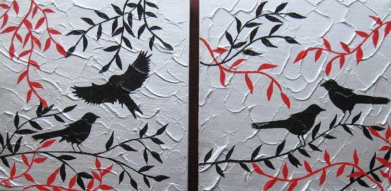 birds art red black white gray grey silver 2 two by SheerJoy, $79.95
