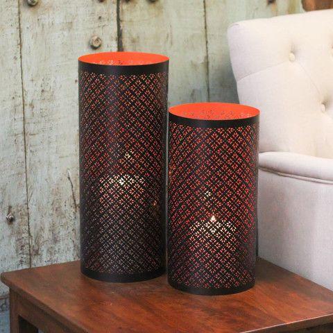 Etched Candle Holder Orange -2 Sizes