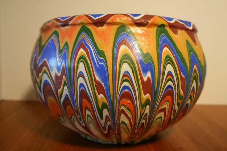 1930's Ozark Tourist Pottery Folk Art Medium Planter Multi Color Nilaok Style