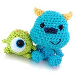 Mike y Sulley de bebés. Patrón en ganchillo de amigurumis   -   Baby Mike and Sulley amigurumi crochet pattern