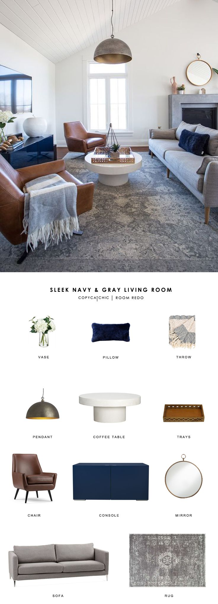 Copy Cat Chic Room Redo | Sleek Navy and Gray Living Room