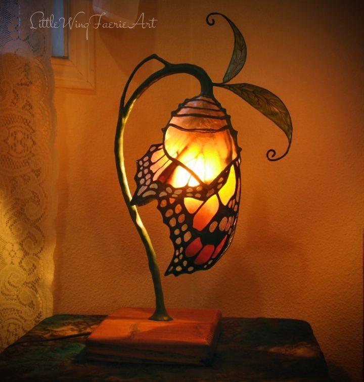 Silk Flower And Faerie Lights Little Wing Faerie Art 1000 In 2020 Butterfly Lamp Lamp Flower Lamp