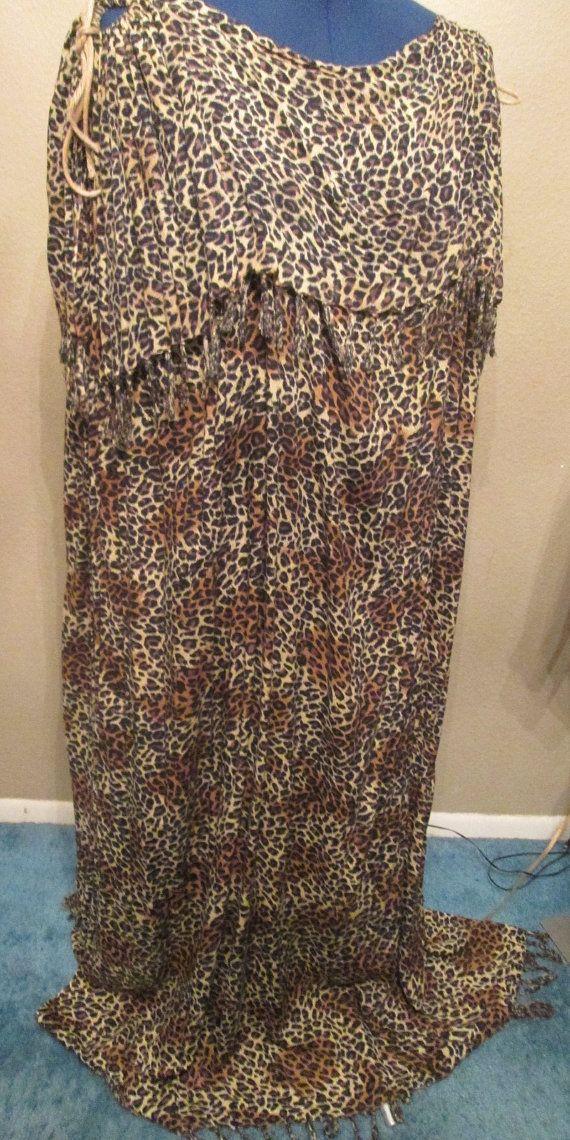 Women's Animal Print Long Dress Leopard Spot One Size by BADTIQUE
