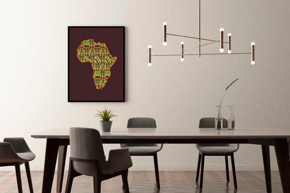 Africa Continent I Wall Art I African Decor I Black Power I Etsy Wall Hanging Diy Projects African Decor Wall Stencils Diy