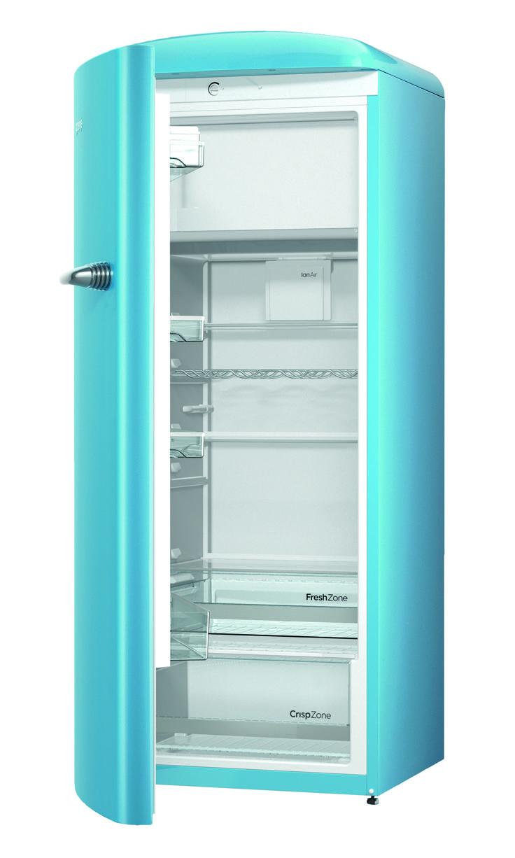 Gorenje Retro ORB153BL L Refrigerator   Baby Blue   Cut Out Open Door