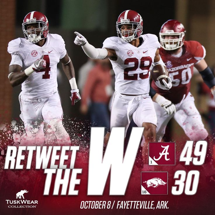 Alabama Football on Twitter: Hurts has 3 TDs (2 rush, 1 pass) & Fitzpatrick has 3 INTs (including school record 100-yd INT TD return) as UA wins at Arkansas! #RollTide 10/08/2016